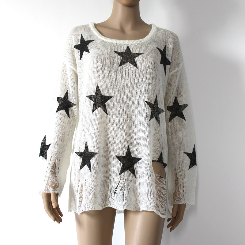 0271c7a8be Female Long Sleeve Lovely Printed Stars Pullovers Loose Black ripped  sweater Hole Autumn Hipster cute thin sweaters Outwear Tops-in Pullovers  from Women s ...