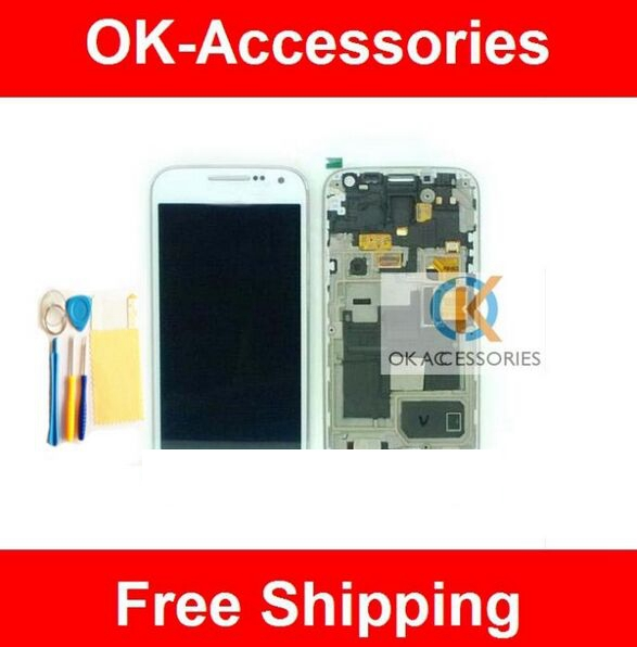 ФОТО For Samsung Galaxy S4 Mini i9190 i9195 LCD Display With Touch Screen+Frame+Protector+Tools White Color 1PC/Lot