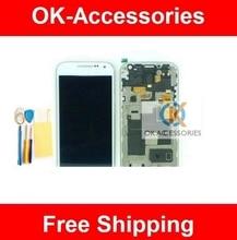 Für samsung galaxy s4 mini i9190 i9195 lcd display mit touch screen + rahmen + werkzeuge white & blue 1 teil/los