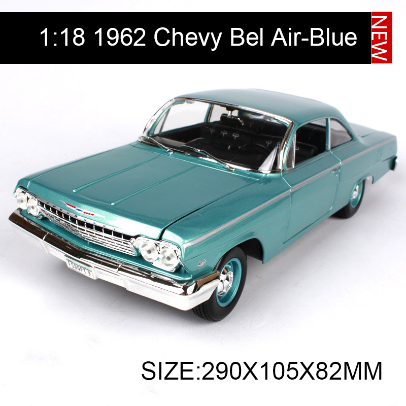 1:18 diecast Car Chevy 1962 Bel Air Blue Muscle Cars 1:18 Alloy Car Metal Vehicle Collectible Models toys For Gift maisto jeep wrangler rubicon fire engine 1 18 scale alloy model metal diecast car toys high quality collection kids toys gift