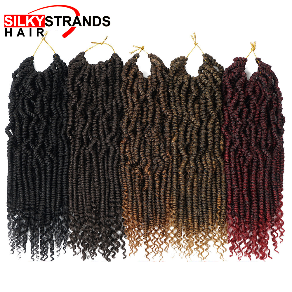 12 Inch Passion Spring Twists Hair Synthetic Crotchet Hair Extensions Ombre Crochet Braids Fluffy Kinky Curly Nubian Pre Twist