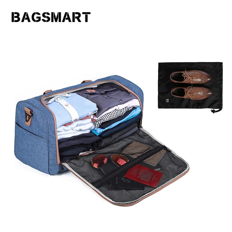 BAGSMART Designers Weekend Bag Resväska för män och kvinnor Stor kapacitet Bär på bagage med skor Väska Resor Bagageväskor