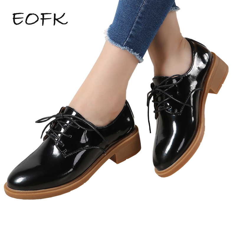 EOFK Spring Autumn Women Patent Leather Shoes Lace Up Shoes Woman Flats Women s Casual Female
