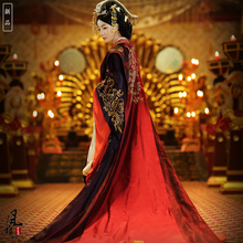 Asian Emperor queen Royal Palace wedding Gown Robe dress Chinese Ancient Hanfu Long Costume Black Red bride groom Outfit