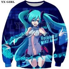 YX Girl Lovely Clothes Womens 3d Hatsune Miku Autumn Sweatshirts Fashion Long Sleeve O-neck Pullover Women Polyester Sweatshirt
