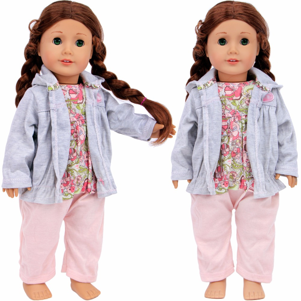 Handmade Cute Jumpsuit Daily Casual Wear Flower Pattern Jumpsuit Lovely Clothes For American Girl Doll 18'' Accessories Kid Gift doll accessories pink rabbit pattern sleeping bag pillow doll clothes wear fits 18 american girl doll for baby gift lg74