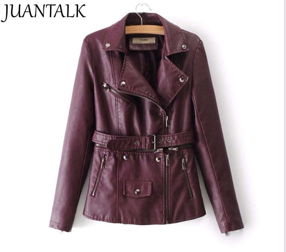 2018 New Women Fashion Style Jacket Zipper Motorcycle   Leather   Jacket with waist Belt Slim PU Jacket women