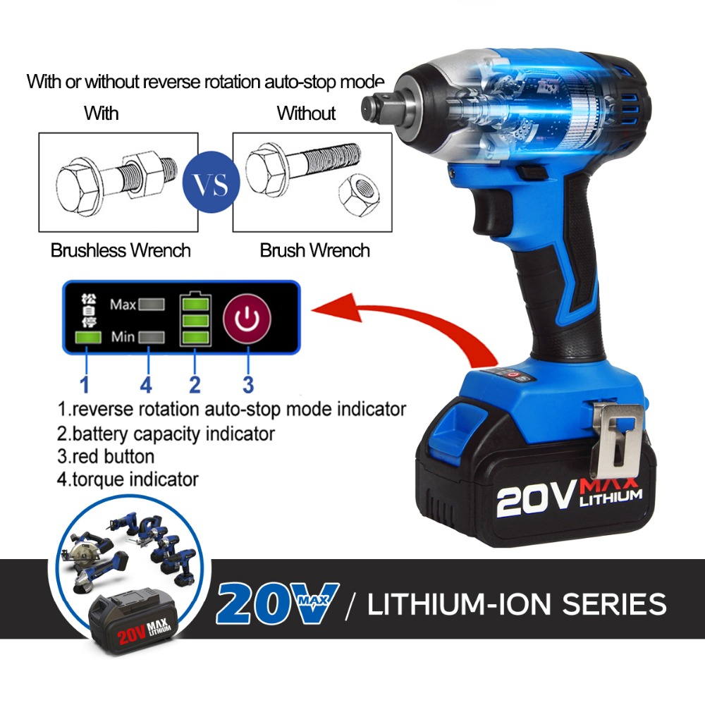 Tools : 300NM Burshless Cordless Impact Wrench 20V Torque Socket Wrench  4000mAh Lithium-Ion Battery Power Tool By PROSTORMER