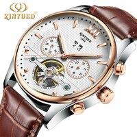 KINYUED Skeleton Automatische Uhren Männer Luxus Marke Military Selbst Winding Mechanische Uhr Leder Wasserdichte erkek saati