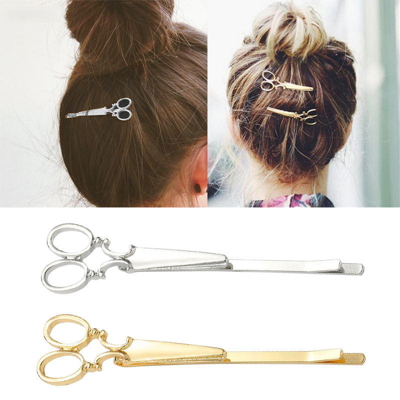 1PC Creative Scissors Shape Chic Women Golden Silvery Scissors Shape Hair Clip Hair Pin Headwear