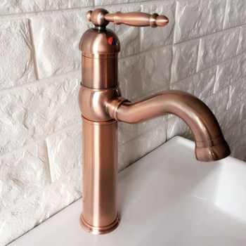Swivel Spout Water Tap Antique Red Copper Single Handle Single Hole Kitchen Sink & Bathroom Faucet Basin Mixer Tap anf388 vintage copper sink faucet water tap