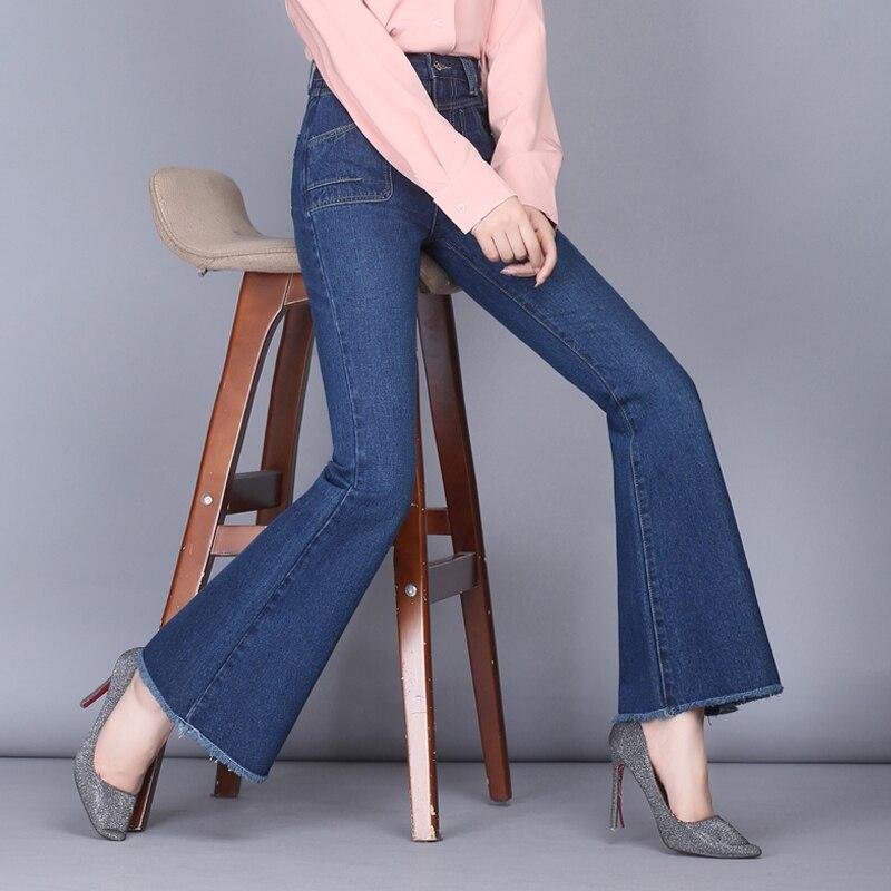 p1 Algodón Para Nueva Jeans Negro Casual De Adelgaza Mujeres Hdl0809 Las Femenino p2 Más Tamaño Flare Otoño p3 Pantalones Que Moda Mezcla Negro Azul 1q4axcp