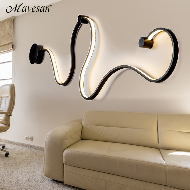 simple creative wall lamps with white or balck color for bedroom bedside decoration Nordic designer living room corridor hotel new postmodern simple creative wall light led bedroom bedside decoration nordic designer living room corridor hotel wall lamps