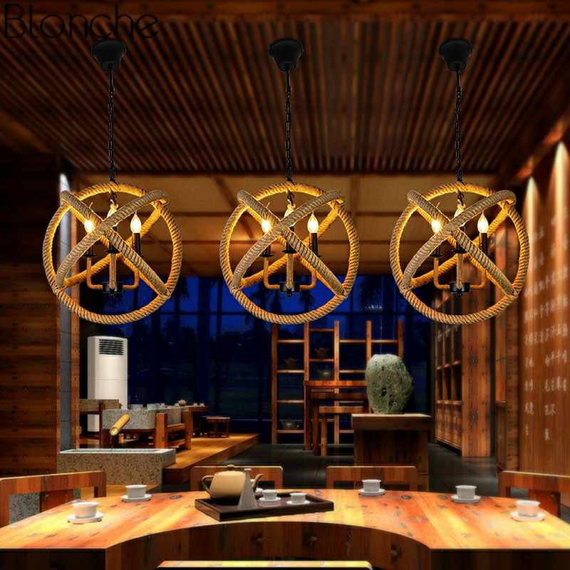 Нордическая лампа подвесная в ретро стиле светодиодный подвесной светильник пеньковая веревка креативный светильник Лофт промышленный Декор домашний ресторан освещение для спальной E27