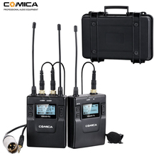 Comica 96-Channel UHF Rechargeable Wireless Lavalier Microphone System for Canon Nikon DSLR Cameras,XLR Camcorders,Smartphones