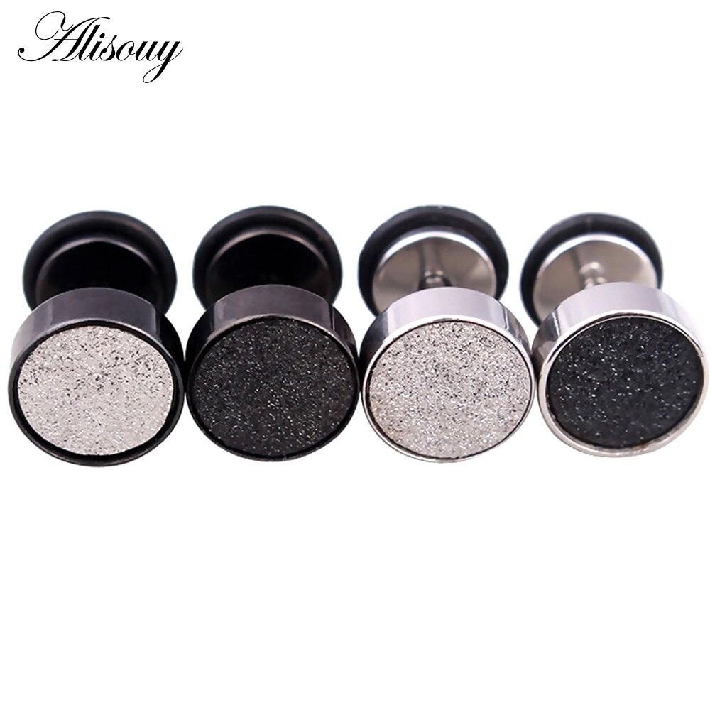 Alisouy Fashion Men s black Steel 316L Stainless Steel Ear Studs Earrings 6 8 10mm Barbell - Earrings For Men