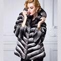Real fur coat women luxury chinchilla fur high-end fur coat with hood black velvet bunny fur free shipping New Phoenix 8855