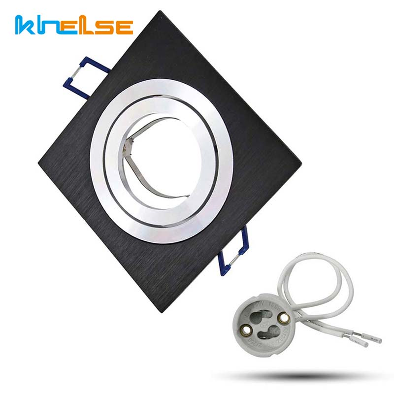 Innfelt taklampe GU10 MR16 sokkel svart firkant downlight-sett 12V 220V for taklamperarmatur med 50 mm pærer
