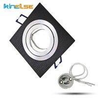 Recessed teto ponto luz gu10 mr16 base soquete preto quadrado downlight kit 12 v 220 v para luminária de teto com 50mm lâmpadas