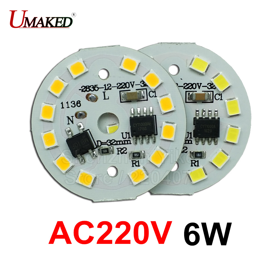 6W 32mm AC 220v led pcb with integrated IC driver for bulb light, Warm white/ white driverless aluminum plate board, free ship 40w smd 5730 5630 led pcb with smd5730 installed and ic driver aluminum plate free shipping