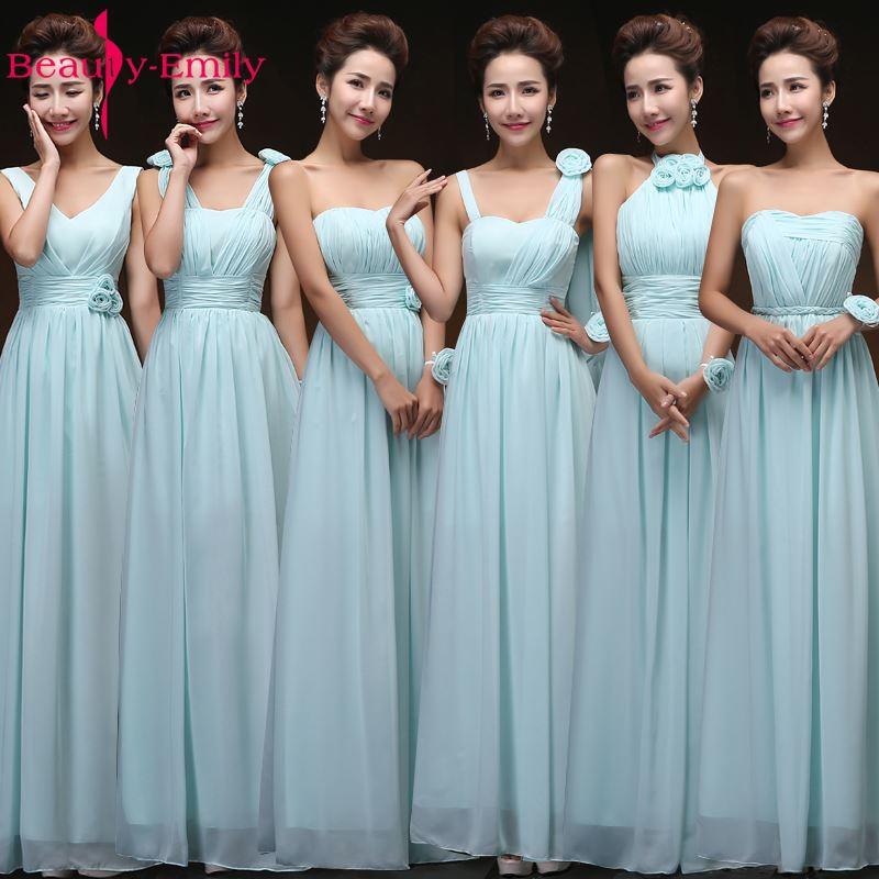 Beauty-Emily Elegant Chiffon Bridesmaid Dresses 2018 A-line Women Formal Wedding Dress Party Gowns Floor-Length Party Prom Dress