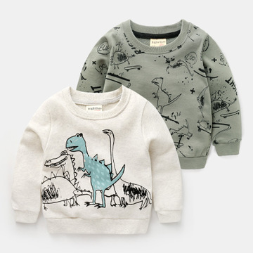 f61b4cd91 Boys Long Sleeve Tops Cartoon Dinosaur Print Shirt for Boys 2019 Spring Toddler  Baby Clothing 2