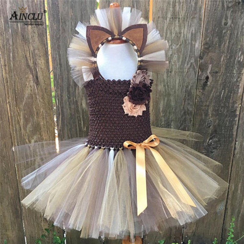 1-10Y Brown Flower Girls Tutu Dress Children Cosplay Animal Lion Costume Dress Up Fancy Girl Kids Halloween Birthday Party Dress