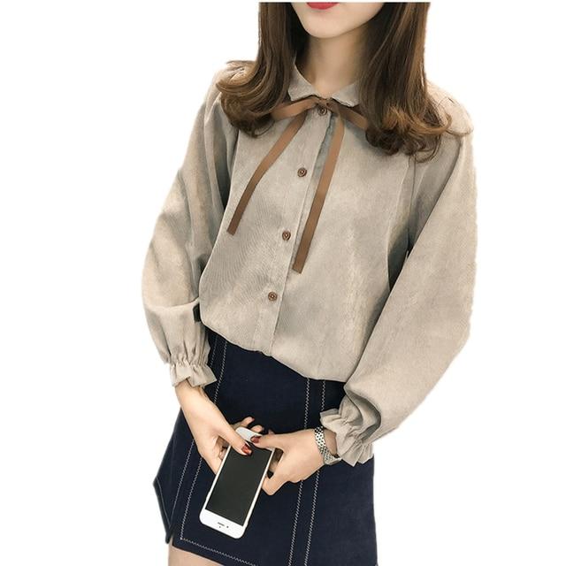 84c5c31f28b54 Neploe Corduroy Shirt Bow Tie Design Blouse 2018 Spring Autumn Long Sleeve  Turn-down Collar Tops Woman Sweet Blusas Top 154