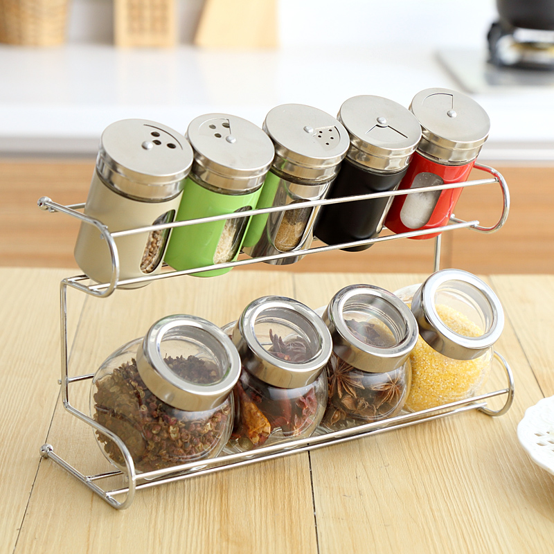 kitchen seasoning box glass jar set european style spice jar creative spice rack kitchen accessories - Glass Spice Jars