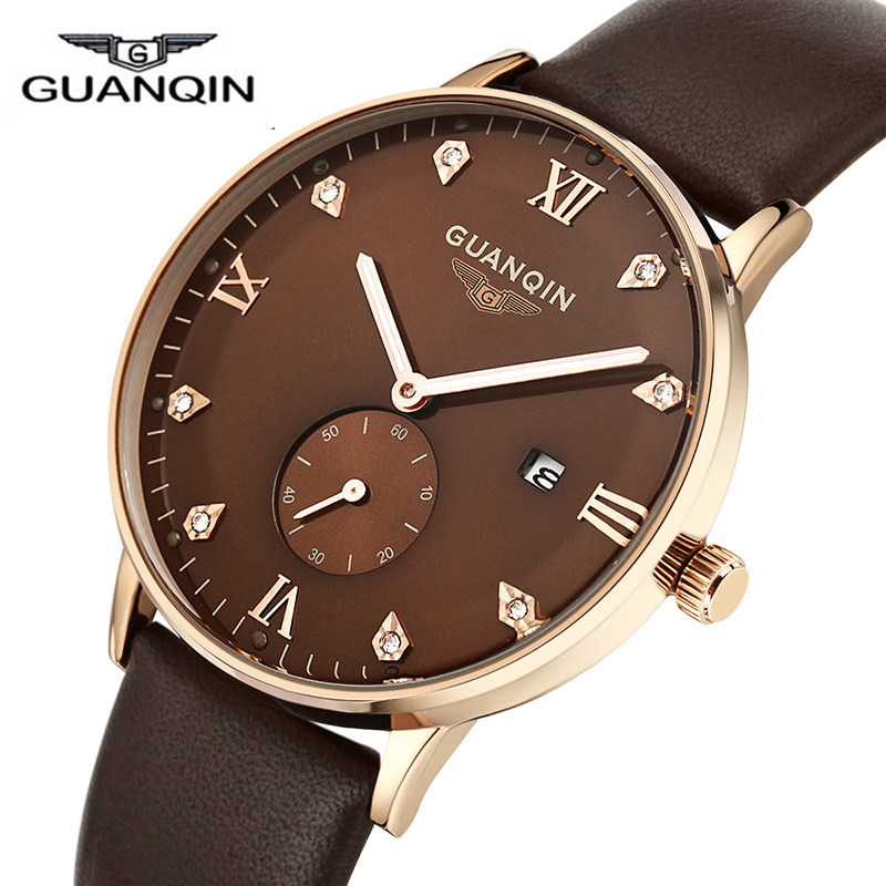 ФОТО 2016 Original Brand GUANQIN watch Men Leather Strap Quartz Luminous Watches Fashion Men's Sports Watches male Casual clock hour