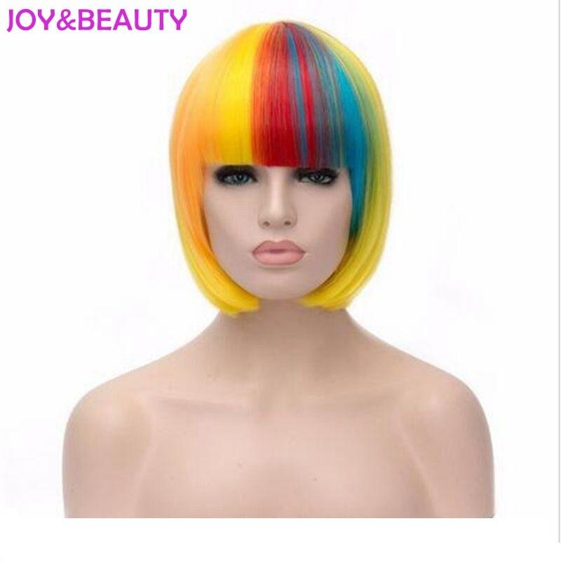 Радость и красоты волос короткие прямые волосы Для женщин парик Harajuku Плутон Косплэй парик термостойкие сочетание цвета радуги 12 дюймов ...