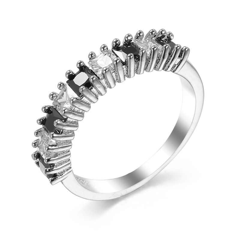 Mossovy Hollow Zircon Rose Gold แหวนสำหรับหญิงแฟชั่นหัวใจงานแต่งงานแหวนเงินผู้หญิงเครื่องประดับ Anillos Mujer
