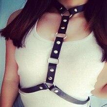 Punk Handcrafted Halter Choker Collar Harness Body Bondage PU Leather Waist Belt Drop Ship
