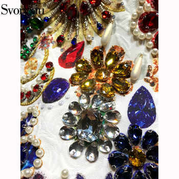 Svoryxiu High End luxury Runway Summer Party Tank Short Dresses Women\'s Vintage Baroque Printed Crystal Diamond A Line Dress