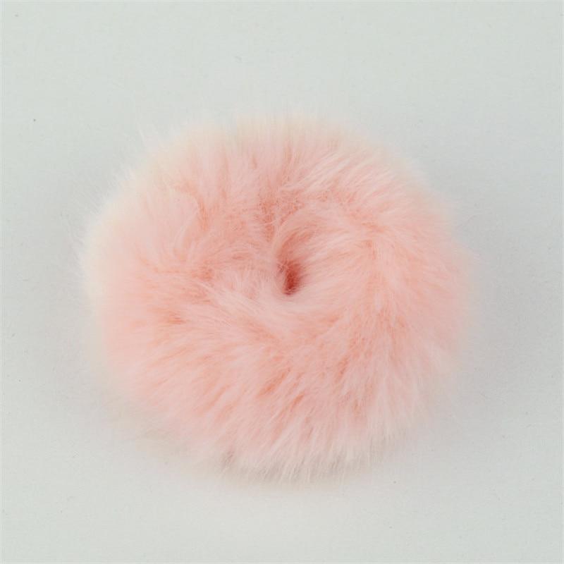 Резинки для волос резинка для волос Милые эластичные резинки для волос для девочек, искусственный мех, резиновое кольцо, веревка, пушистый бант аксессуары для волос, пушистая резинка на голову - Цвет: C12