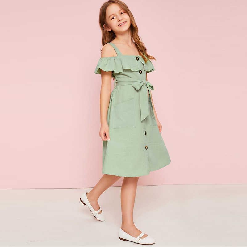 SHEIN детский бархатное платье с v-образным вырезом, отделка поясом Рубашка Boho детское платье 2019 летнее платье на пуговицах спереди Высокая талия по колено милое платье