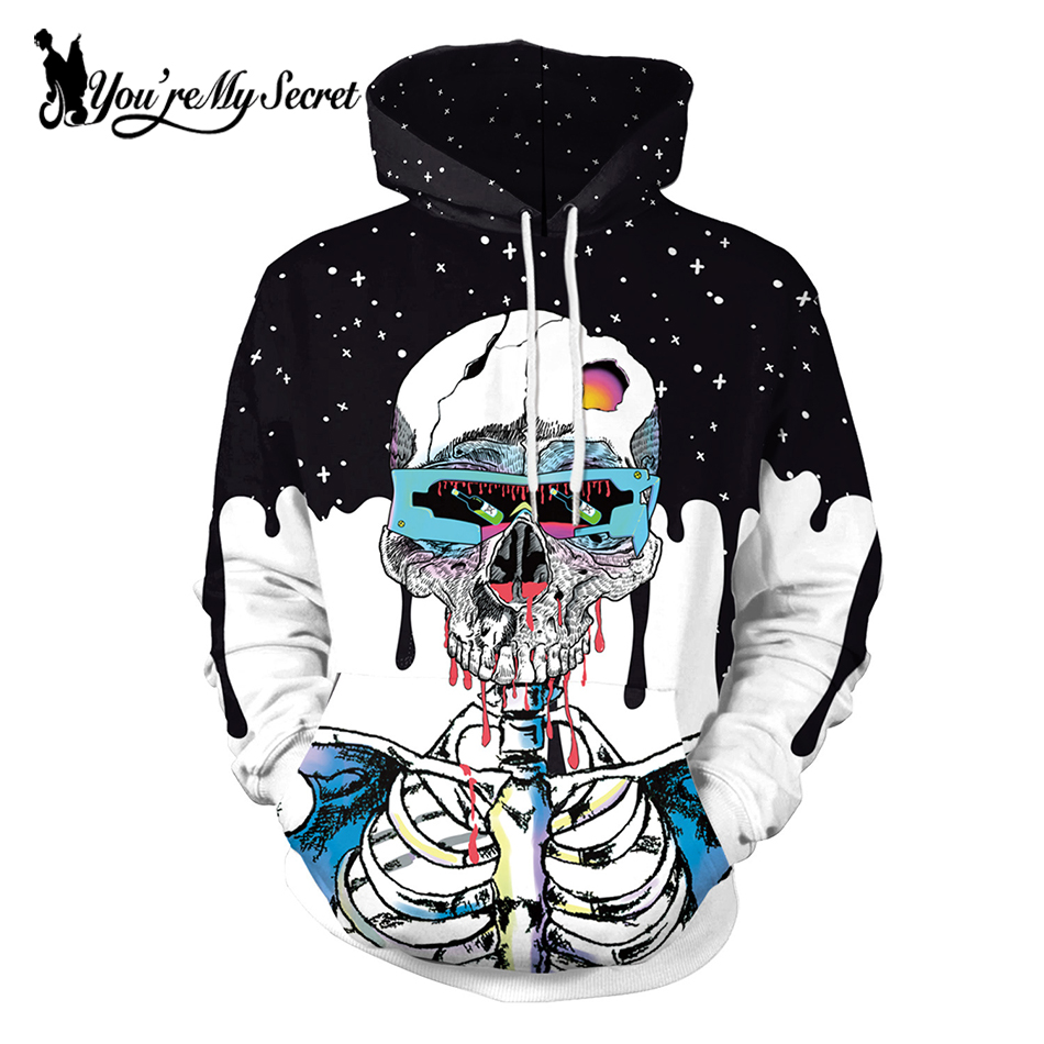 [You're My Secret] Halloween Winter Snow ZOMBIE Skeleton Cartoon Cute Unisex Hooded Hoodie Sweatshirt Long Sleeve Digital Tops