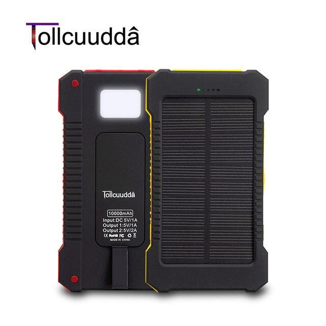 Tollcuudda Солнечной Энергии Банк 10000 мАч Сотовый Телефон Внешний Poverbank Зарядное Устройство Для Iphone Xiaomi Mi Зарядное Портативный Bateria наружный