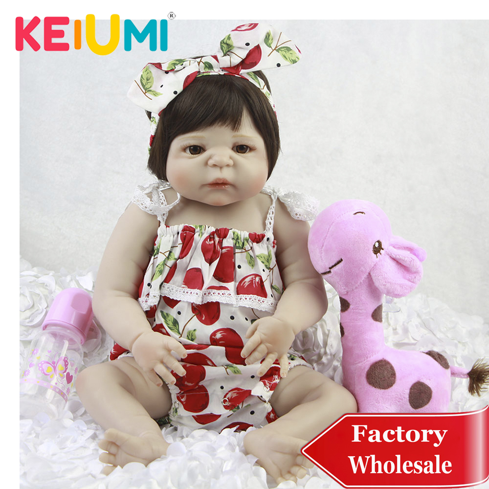Wholesale 23'' Baby Reborn Menina Full Silicone Reborn Baby Dolls Lifelike Realistic New Born Toddler For Kids Birthday Gifts-in Dolls from Toys & Hobbies    1