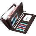 La alta calidad de cuero carteras con cremallera de cuero venta al por mayor tarjeta de cuero larga carteras, envío gratis