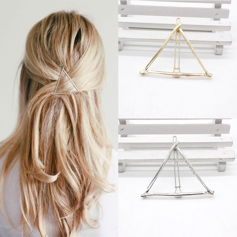 NEW Fashion Hairpins Round triangle Moon Hair pins Metal head jewelry for Women Lady Barrette Clip Hair Accessories Girls Holder 1