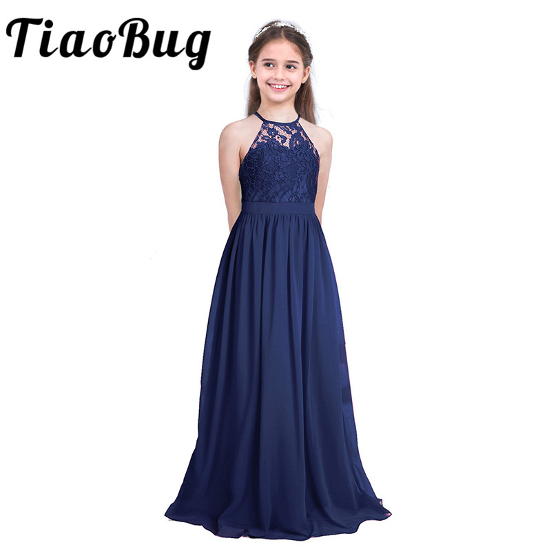 Tiaobug Sleeveless Lace Flower Girls Dress Kids Pageant Wedding Formal Occasion Ball Gown Wedding Party Princess Tulle DressesFlower Girl Dresses   -