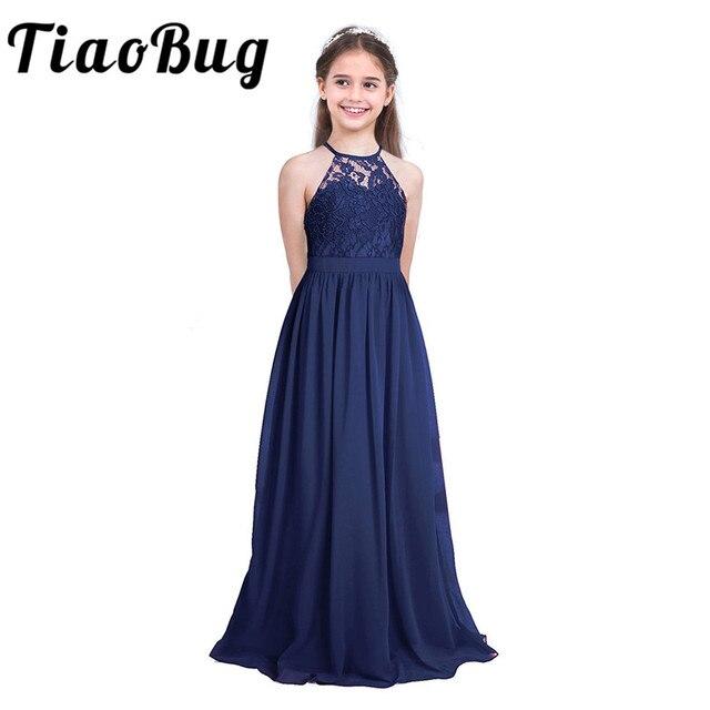 Tiaobugノースリーブレースフラワーガールズドレスキッズページェント結婚式フォーマルな日の夜会服のウェディングパーティー王女のチュールドレス