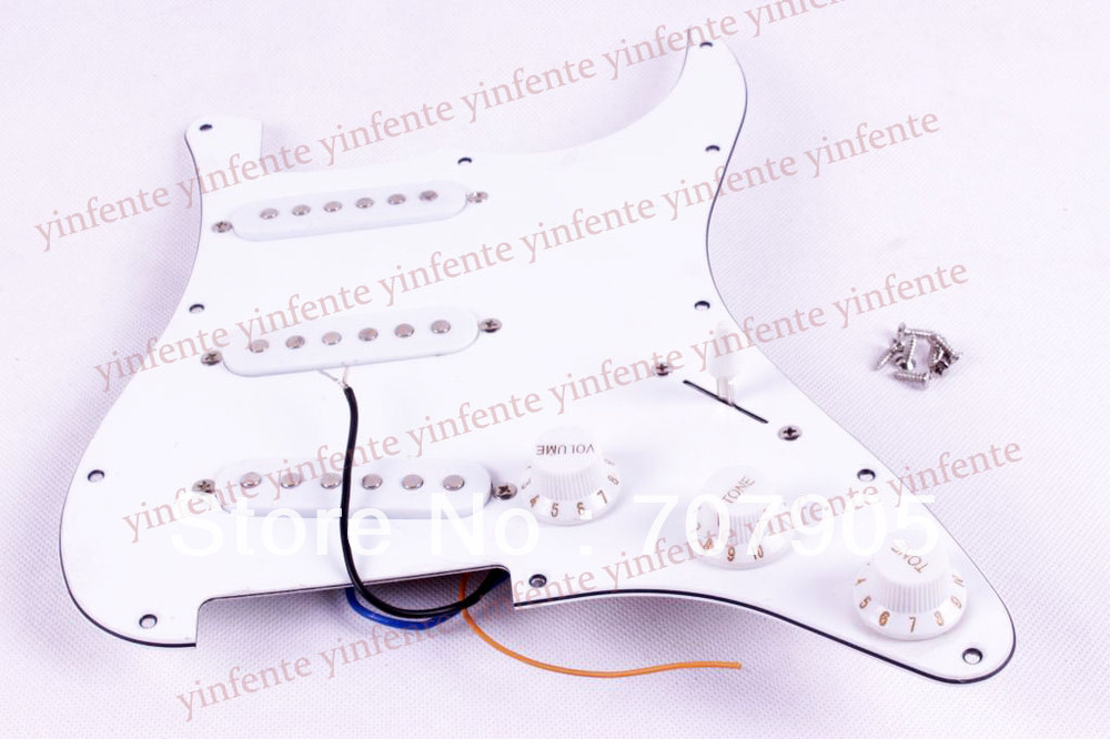 ST electric Guitar Pickguard White Loaded Pickguard pickups Switch Knobs musiclily 3ply pvc outline pickguard for fenderstrat st guitar custom