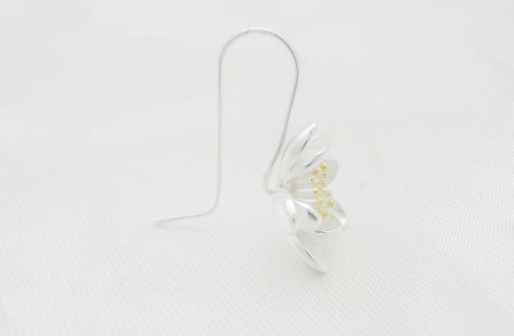 Women's 925 Sterling Silver Lotus Earrings 5