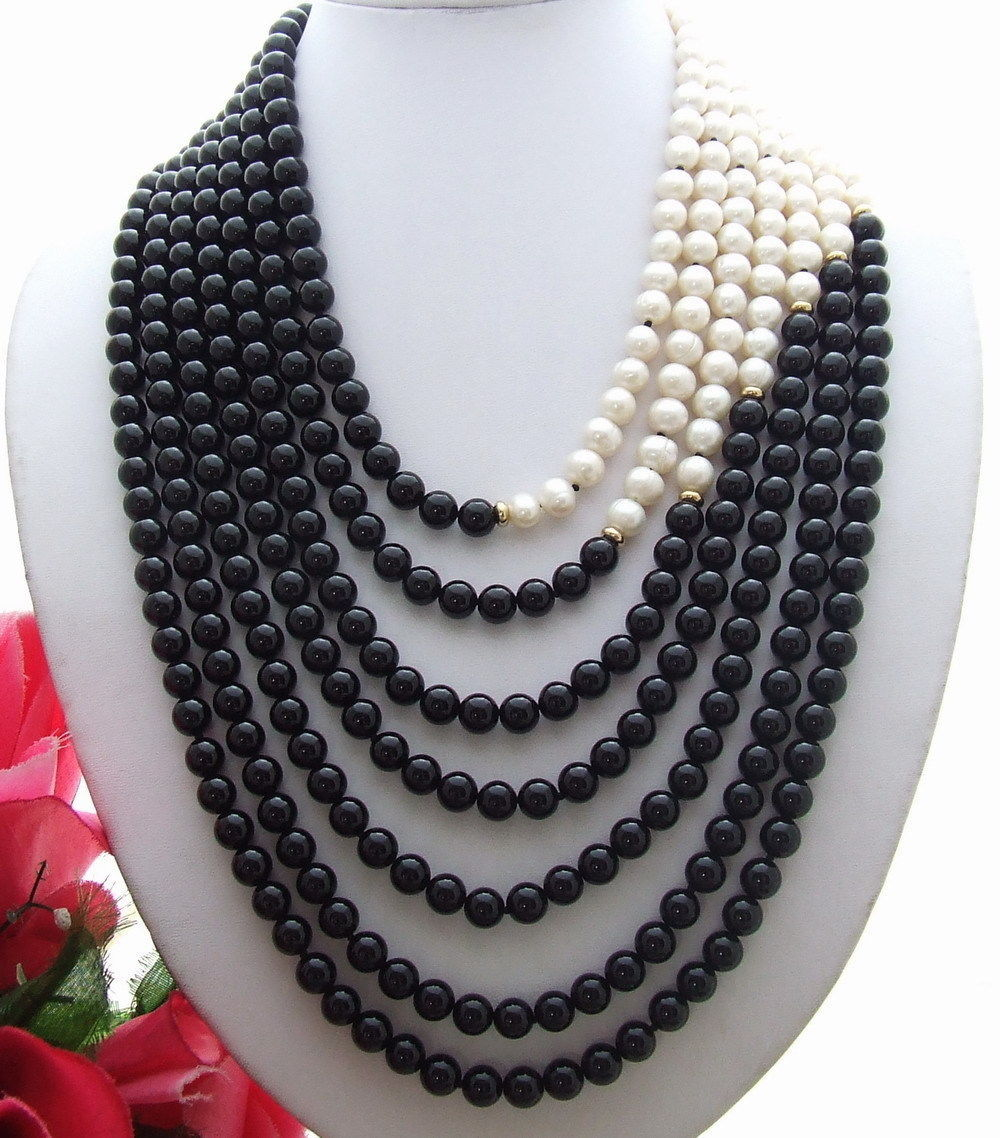 Hot sale Cultured Freshwater 7Strds Pearl&Onyx NecklaceHot sale Cultured Freshwater 7Strds Pearl&Onyx Necklace