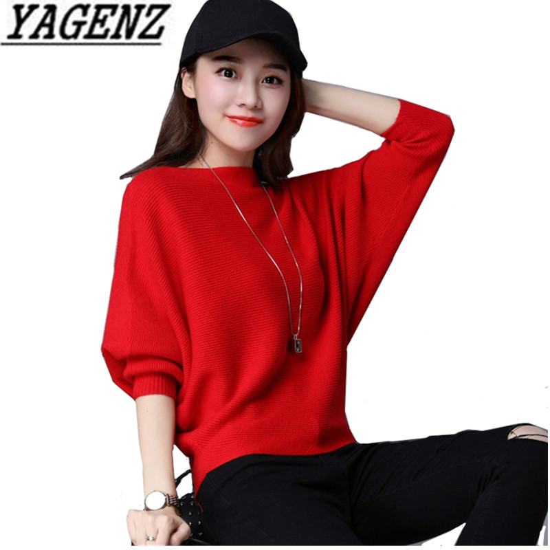 Short Sweater Batwing-Sleeve Ladies Pullover Loose Autumn Plus-Size Korea Hot 3XL Solid