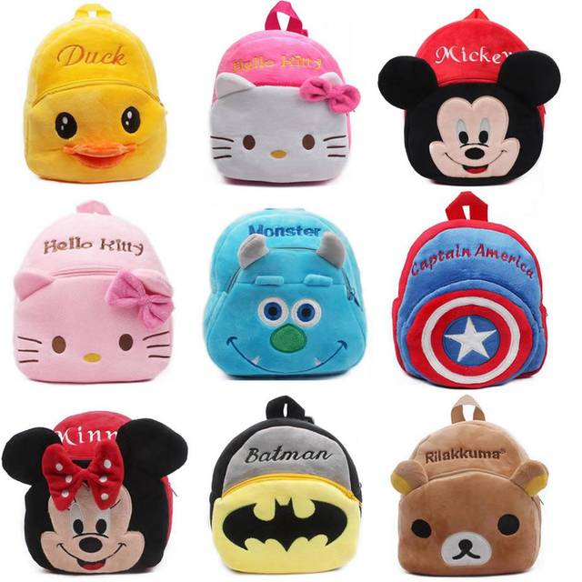 1-3Y Plush Cartoon Hello Kitty School Bag For Girl Kindergarten Minnie Schoolbag Cute Kids Backpacks