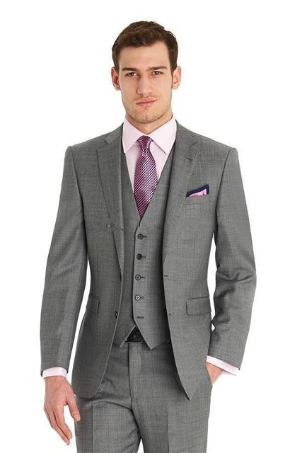 2016 Nach Mass Gunstige Grau Hochzeitsanzug Mens Custom Kerbe Revers