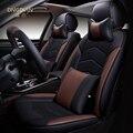 6d styling tampa de assento do carro para honda civic crv accord crosstour fit cidade vfc vezel, alta-fibra de couro, carro-cobre